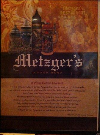 Metzgers German Restaurant: Menu cover