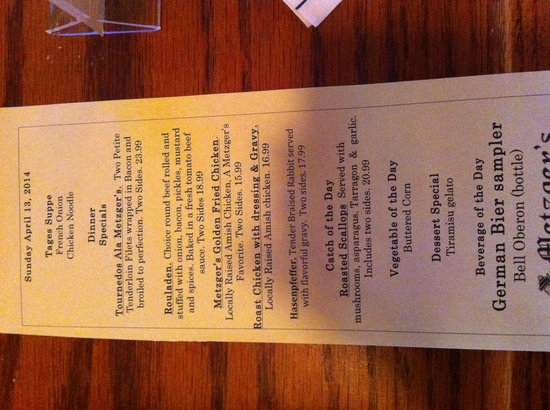 Metzgers German Restaurant : Specials of the day