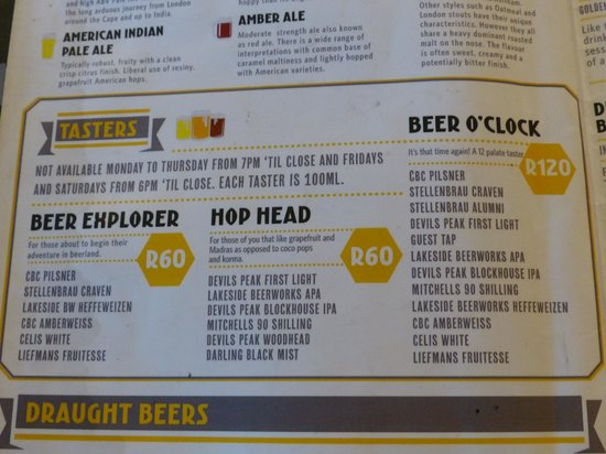 Beerhouse on Long: The Sampler options