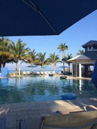 The Naples Beach Hotel & Golf Club: view from family friendly pool.  Restaurant on right.