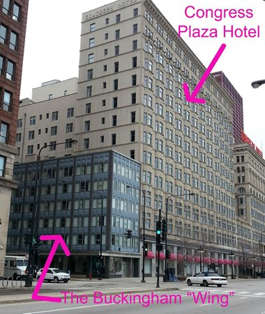 The Congress Plaza Hotel and Convention Center: Exterior of hotel. Arrows point to our first room in the main hotel and our second room in the w