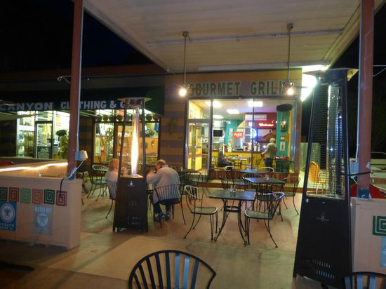 A night shot of the Whiptail Grill
