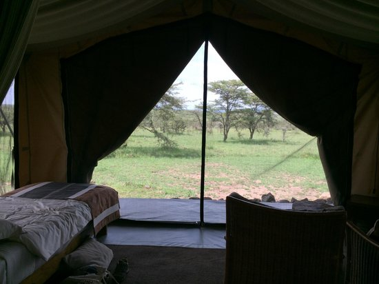 Naboisho Camp, Asilia Africa: View from sitting area/annex bedroom (canvas down)