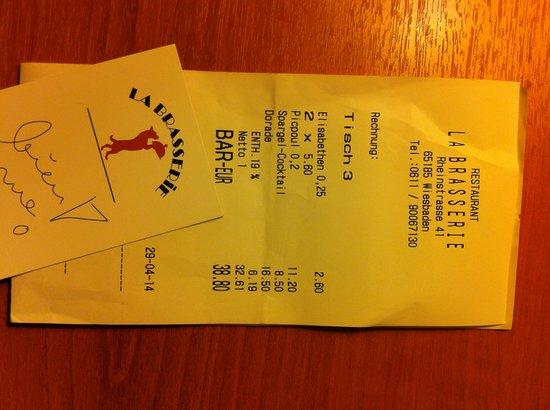 La Brasserie: pleasant bill