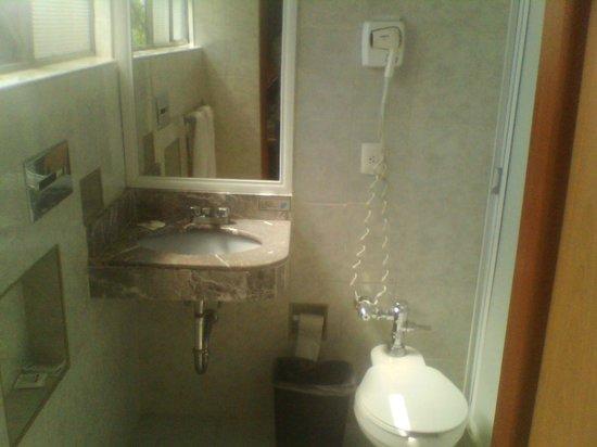 Hotel Diligencias: El baño es grande y aceptable.