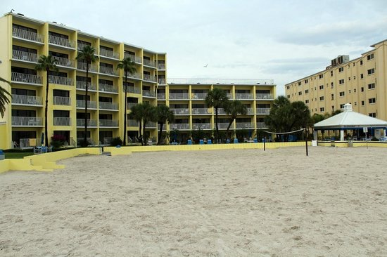 Alden Suites: View of two beachfront buildings from beach