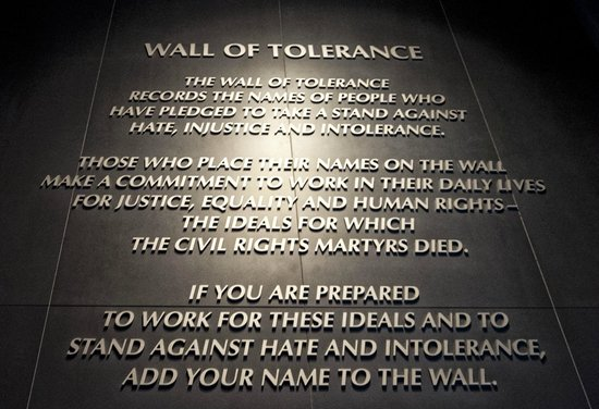 Montgomery, AL: The wall of tolerance