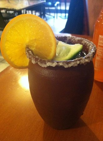 Azteca Mexican Restaurant: Specialty drink in an authentic terra cotta glass