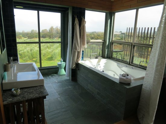 Hapuku Lodge : Bath and shower, looking over olive grove
