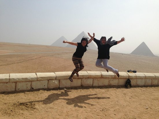 Cairo-Overnight Tours : jump shot moment in Giza Pyramid