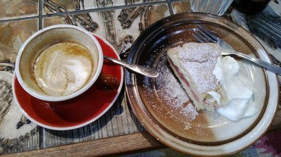 The Refinery: Flat white & Rhubarb Shortcake with fresh cream
