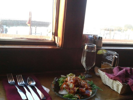 The Wheelhouse & Crowsnest: Upstairs at the Crows Nest a house salad with pineapple, sunflower seeds, golden raisens, boiled