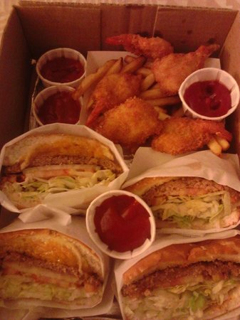 Duane's Ono Char-Burger: burgers and shrimp