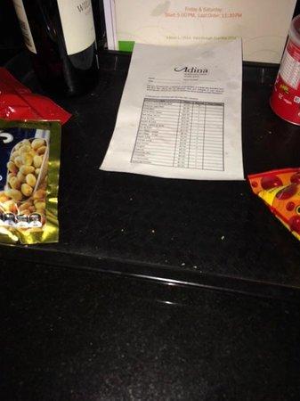 Adina Apartment Hotel South Yarra: Dirty minibar tray