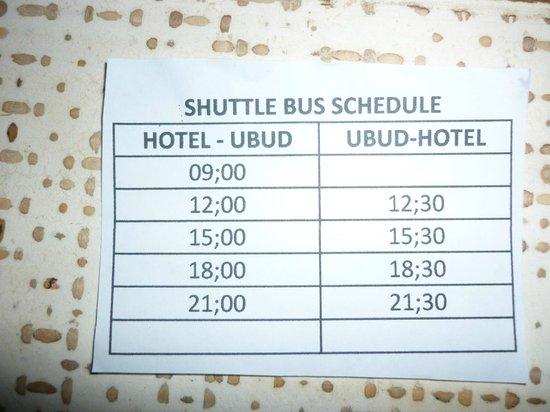 Puri Gangga Resort: horaire des navettes