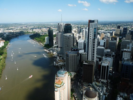 Meriton Serviced Apartments Brisbane on Adelaide Street: view from 65th floor Bridegroom's room