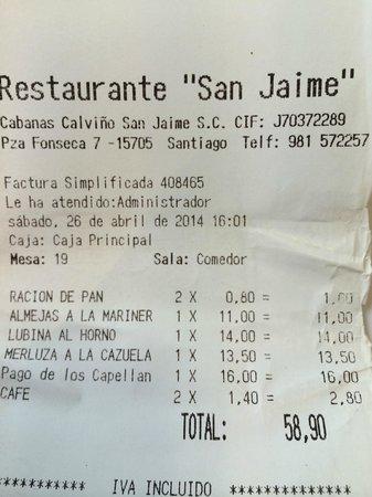 San Jaime: Factura