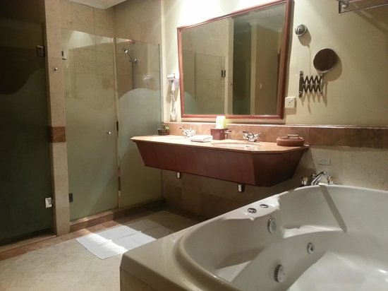 The Northam All Suite Penang: bathroom with seperate shower cubicle and jacuzzi bath
