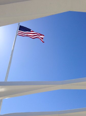 USS Arizona Memorial/WW II Valor in the Pacific National Monument : The American flag flying proudly over the USS Arizona.