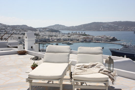 Marina View: mykonos view from deluxe studio magic view