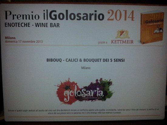 "Bibouq Calici & Bouquet dei 5 Sensi: Bibouq: Premio il Golosario Presidio Slowfood 2014 ""Best Wine Bar"""