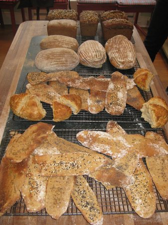 Bread Angels: A variety of bread baked in the sourdough bread class for students to take home