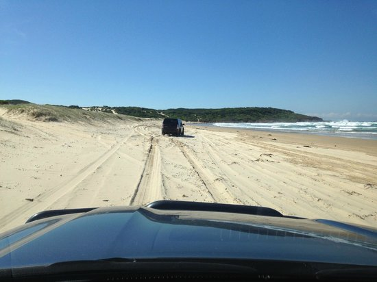 4WD Tag-Along & Passenger Tours: Warming up on the beach ready to attack the dunes!