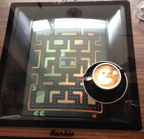 The Grind Cafe, Bali: 80's game table with Pac Man, Donkey Kong +many others