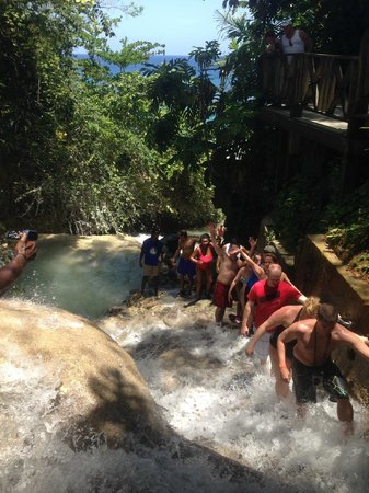 Dunn's River Falls and Park : Human Chain climbing up the Falls