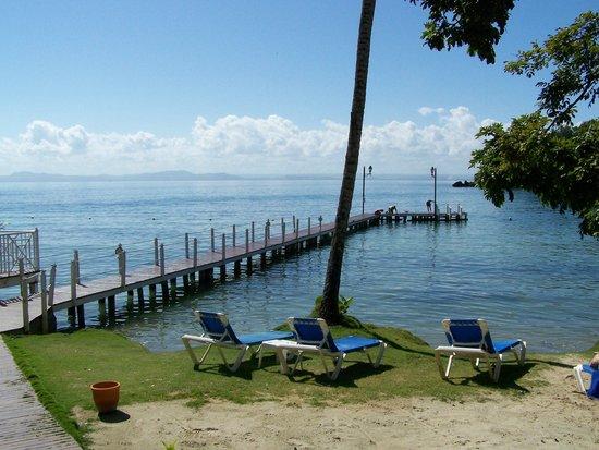 Grand Bahia Principe Cayacoa : Près du casse-croûte, le petit quai et ses nombreux poissons
