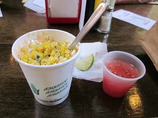 Foods of New York Tours: Esquites and fresh watermelon juice at Tacombi