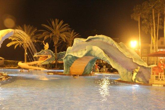 Disney's Port Orleans Resort - French Quarter : Pool and Slide (at night).