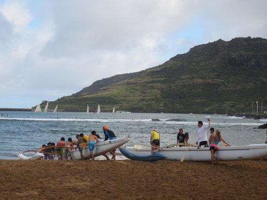 Kalapaki Beach: Canoe lessons