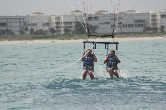 Cocoa Beach Parasail: Dipping our toes in the water.