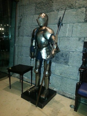 knight standing guard at the entrance picture of clontarf castle
