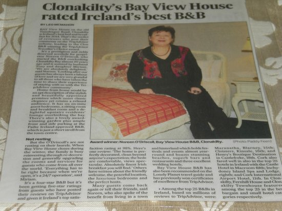 Bay View House Bed & Breakfast: Voted No. 1 B&B in Ireland 2014 by TA