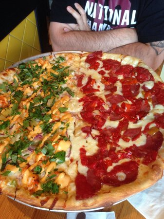 Pies and Pints: Large pizza - half sracha shrimp and the other half spicy ham and sweet peppers  DELICIOUS