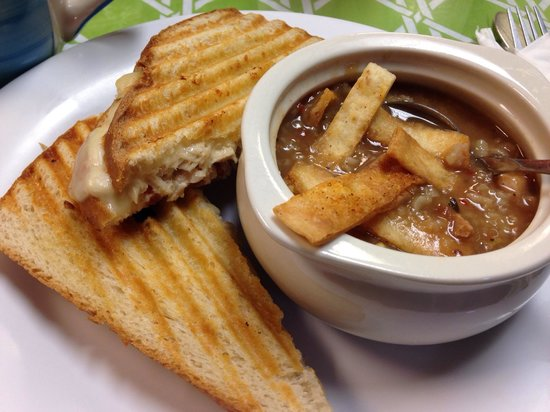 Red Rooster Cafe: Pepper Jack Skip Jack panini and their special soup of the day (Mexican Chicken Soup). $6.95 plu