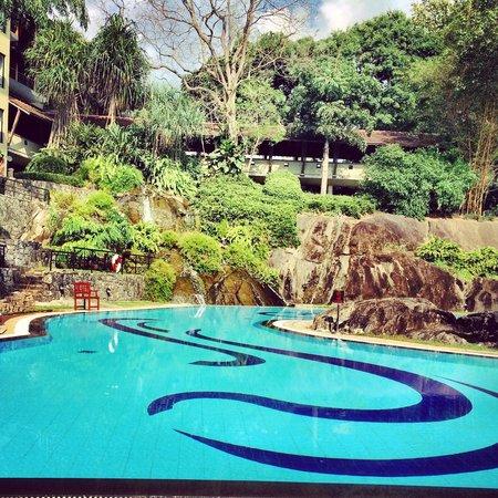 Earl's Regency: Pool waterfall and rockery