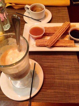 Havana Central : Desserts: Vanilla ice cream with cuban coffee and churros