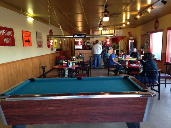 The 101 Burger: 101 burger and pool table.