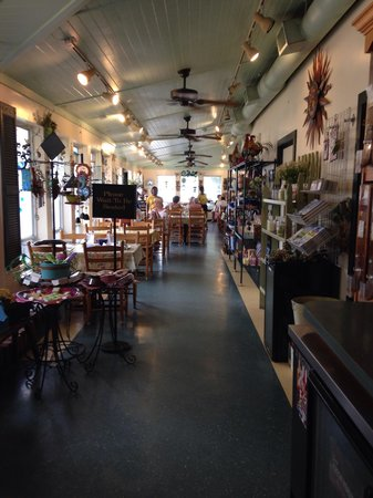 Inside the bakery, gift shop, dining room.