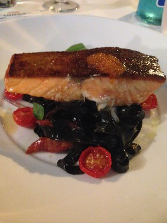 Jellyfish on The River : Trout, squid ink pasta, chorizo and cuttlefish