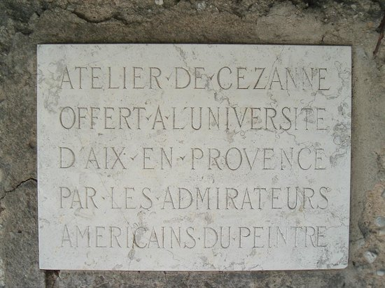 Atelier Cezanne: Plaque indicating how some American students fought to preserve the Atelier
