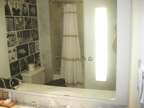 Renaissance Toronto Downtown Hotel: bathroom. The photo tile is a nice touch