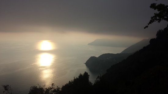 Luna di Marzo : View from Volastra of Sunset over Cinque Terre