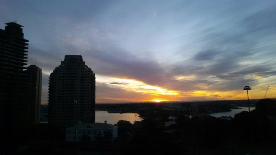 Shangri-La Hotel Sydney: View from our room on level 10 at sunset overlooking Darling Harbour