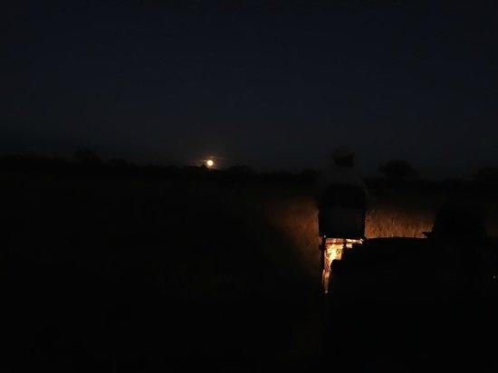 Nkorho Bush Lodge: Full moon during a game drive