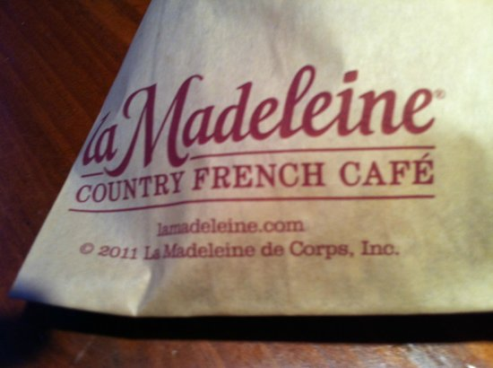 La Madeleine French Bakery & Cafe: carry-out bag for breads etc.