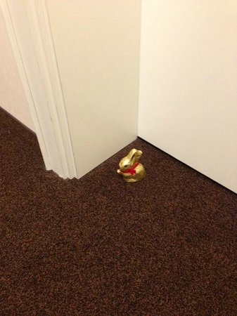 Hotel Adelante Berlin-Mitte: Chocolate Easter Bunny left by our door on Easter